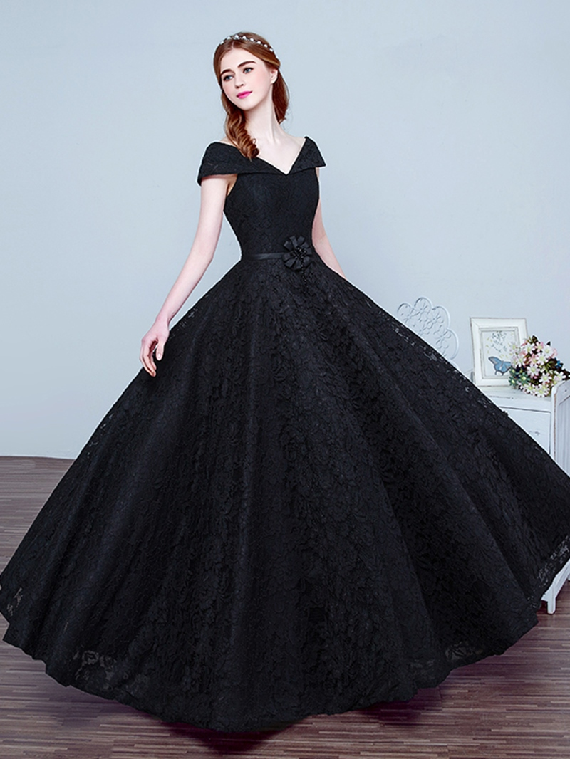 Ericdress V Neck Bowknot Beading Lace Evening Dress