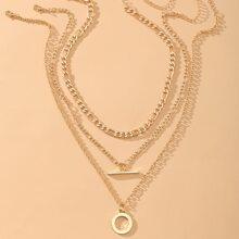 3 Stuecke Halskette mit Ring & Leiste Dekor