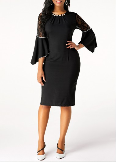 Black Dresses Lace Patchwork Flare Sleeve Back Slit Dress - M