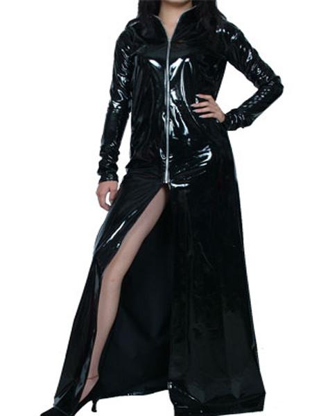 Milanoo Disfraz Halloween Toga de PVC negro con cremallera Halloween