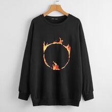 Drop Shoulder Fire Print Sweatshirt