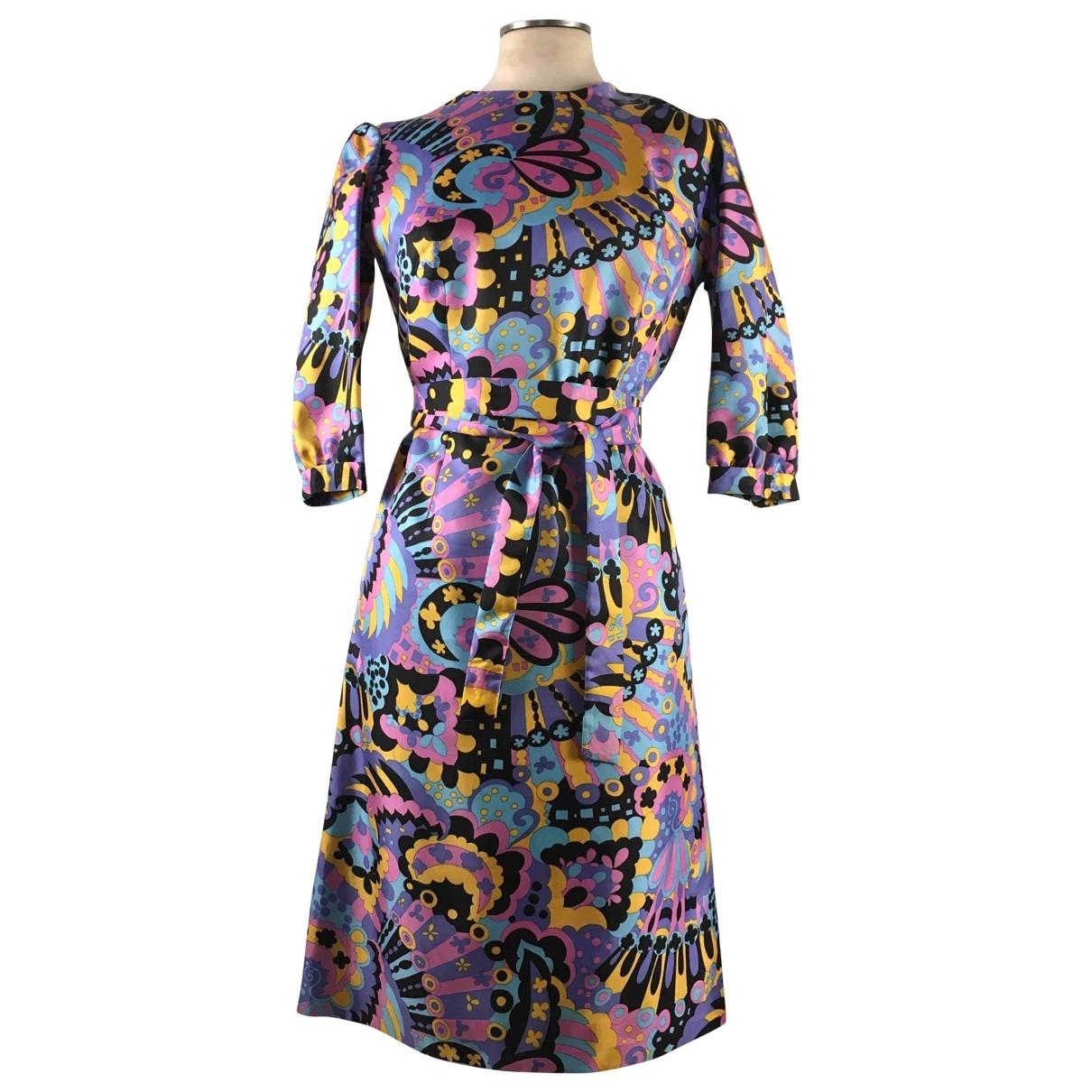 - Robe Manche ballon pour femme en soie - multicolore