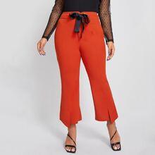 Pantalones de pierna amplia bajo con abertura con cordon delantero
