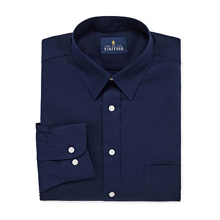 Stafford Mens Wrinkle Free Stain Resistant Stretch Super Dress Shirt, 18 34-35, Blue