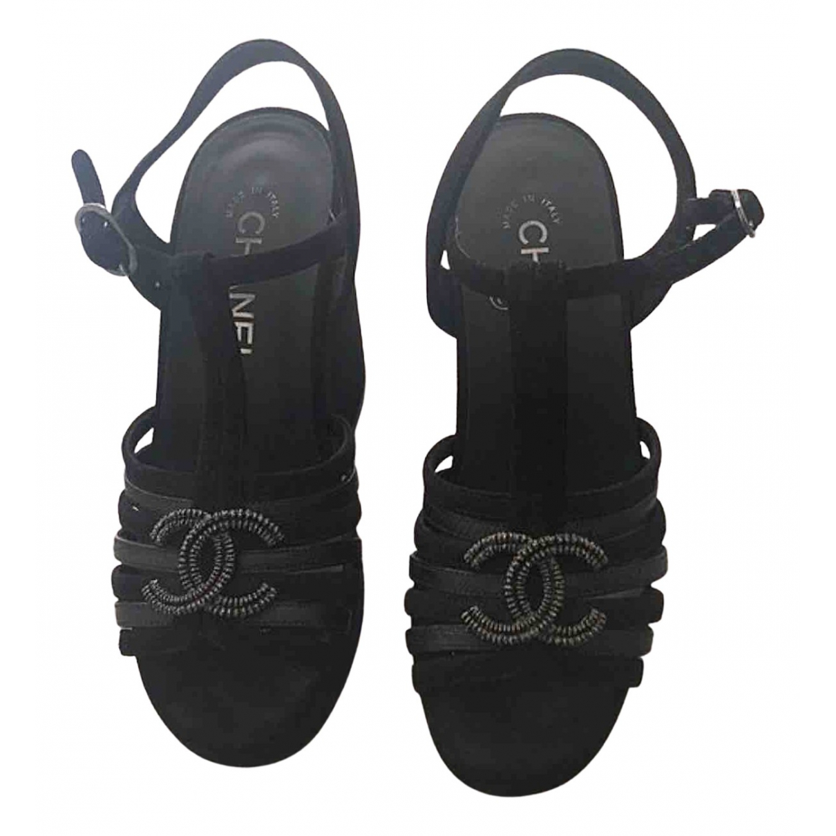 Chanel \N Sandalen in  Schwarz Veloursleder