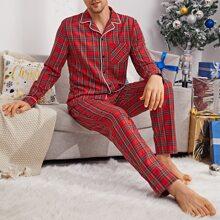Shirt mit Karo Muster, Knopfen vorn & Hose Schlafanzug Set