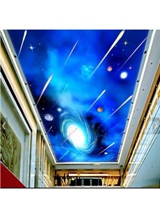 3D Meteor Pattern PVC Waterproof Sturdy Eco-friendly Self-Adhesive Ceiling Murals