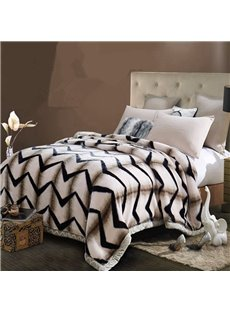 Concise Style Zig Zag Print Super Warm Raschel Bedding Blanket