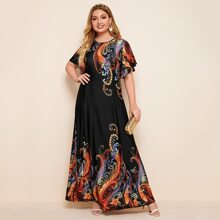 Plus Tribal Plants Print Flutter Sleeve Maxi Dress