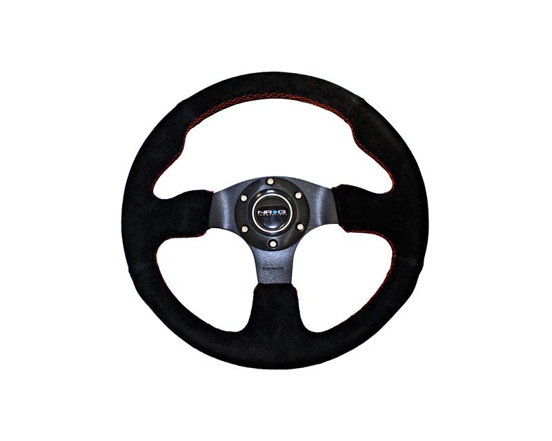 NRG ST-012S Red Stitch Suede 320mm Sport Steering Wheel Universal