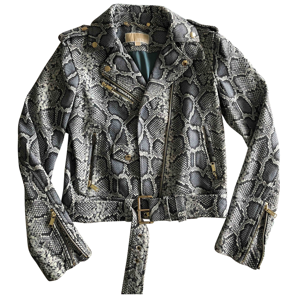 Michael Kors - Veste   pour femme en cuir - turquoise