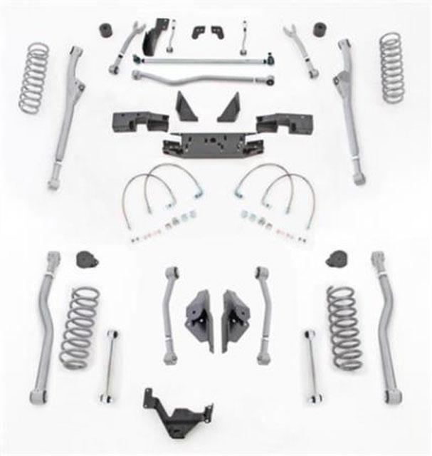 4.5 Inch JK Unlimited Lift Kit Extreme Duty Long Arm System 4 Link No Shocks 07-18 Jeep Wrangler JKU 4 Dr Rubicon Express JKR444