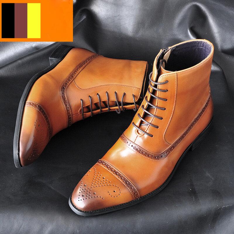 Men Carved Comfy Slip Resistant Casual Brogue Formal Ankle Boots
