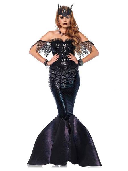 Milanoo Mermaid Costumes Women\'s Black Art Deco Dress Polyester Fairytale Two-Tone Holidays Costumes