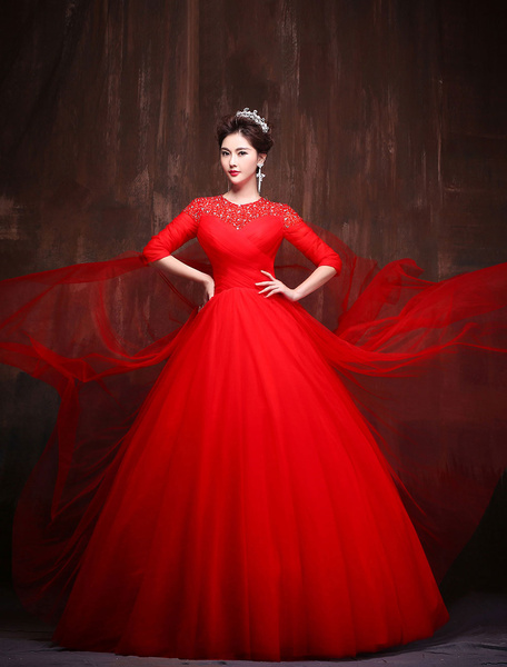 Milanoo Red Quinceanera Dresses Keyhole Lace Tulle Half Sleeve Maxi Luxury Women Pageant Party Dress