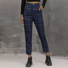 Plaid High-Rise Straight Leg Pants