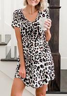 Leopard Pocket V-Neck Mini Dress without Necklace