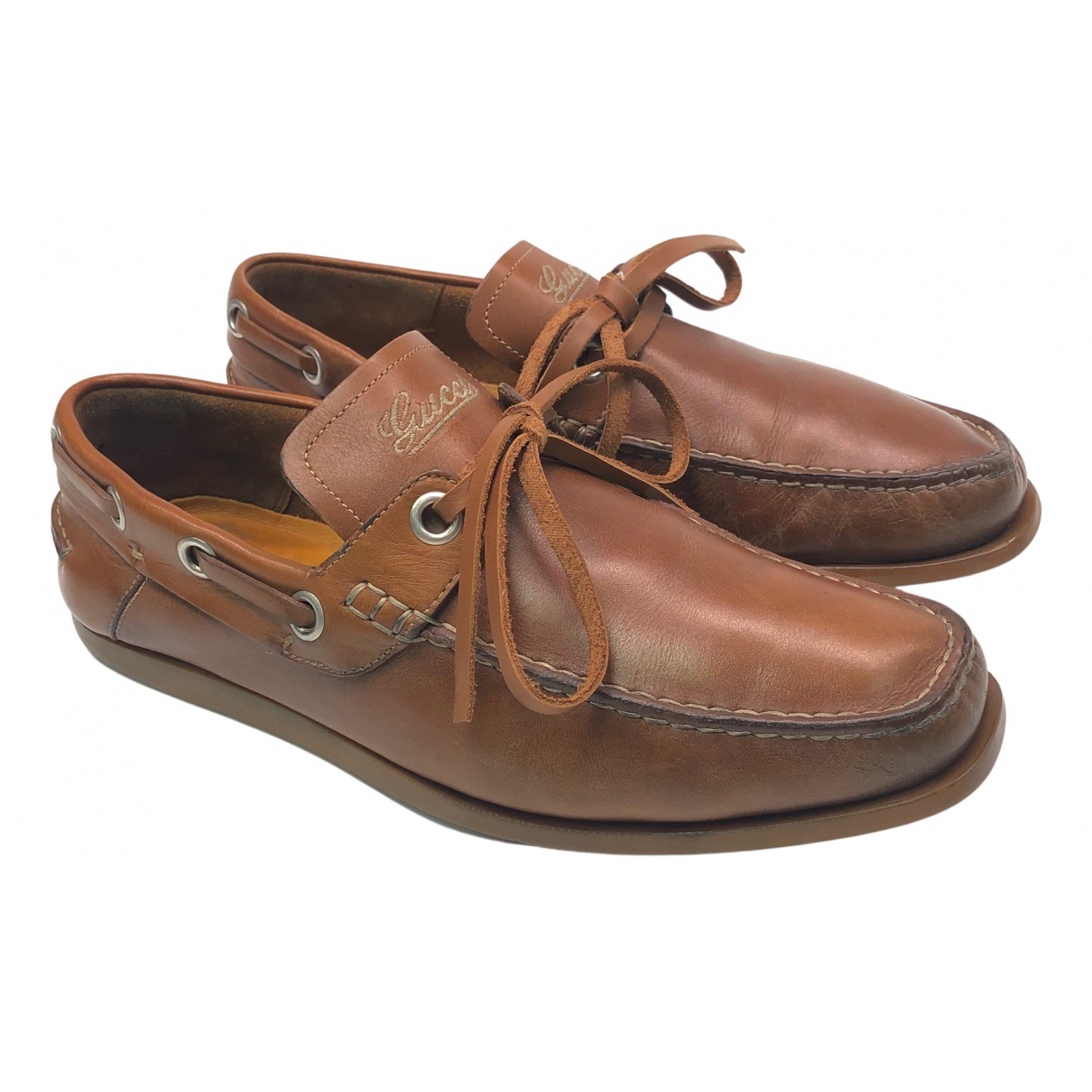 Gucci N Brown Leather Flats for Men 41 EU
