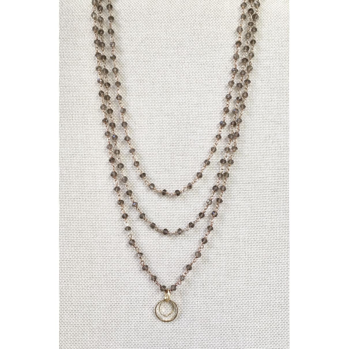 - Sautoir Chaines pour femme en plaque or - marron