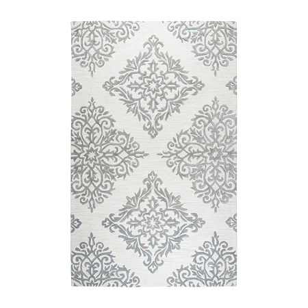 Rizzy Home Opulent Collection Maya Medallion Rectangular Rugs, One Size , White
