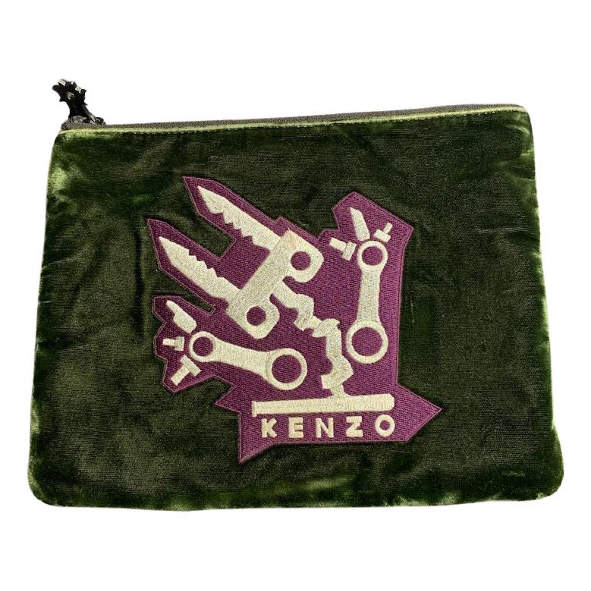 Kenzo \N Clutch in  Khaki Leder