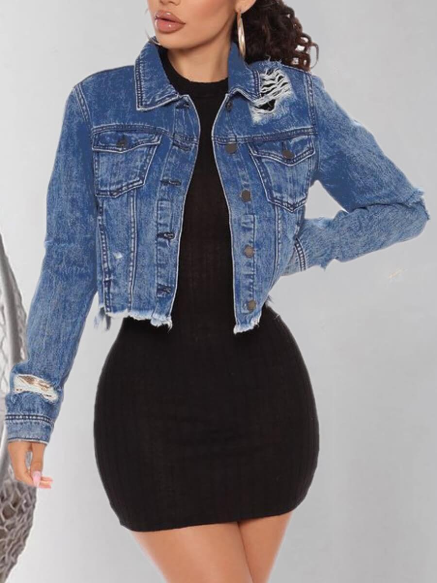 LW Lovely Trendy Turndown Collar Broken Holes Blue Denim Jacket