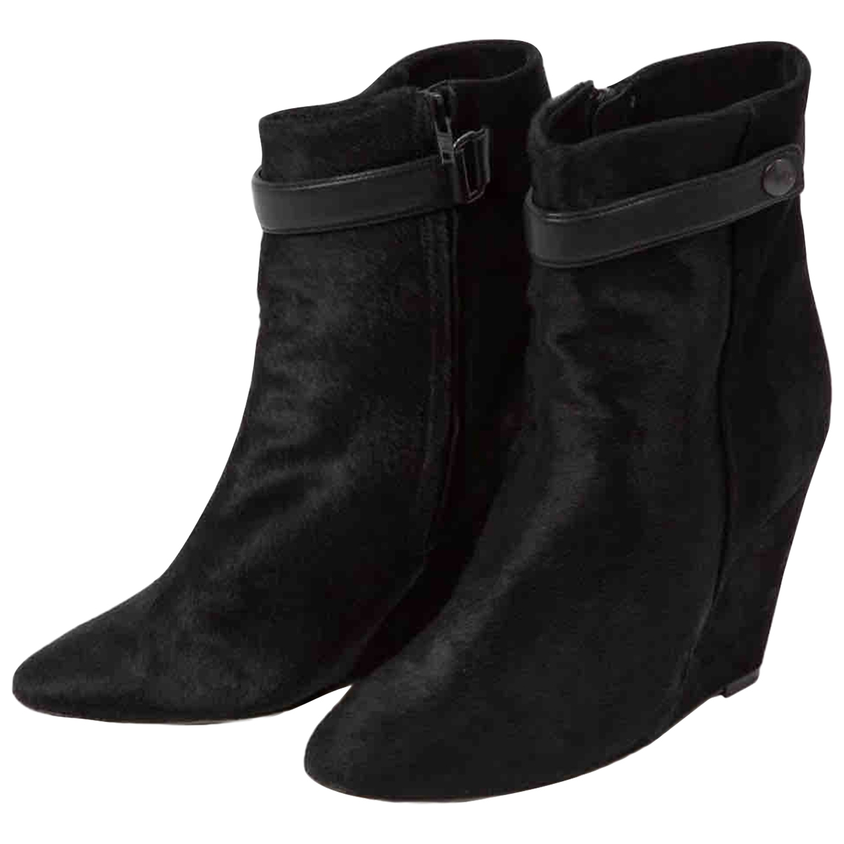 Isabel Marant Purdey Black Pony-style calfskin Ankle boots for Women 39.5 EU
