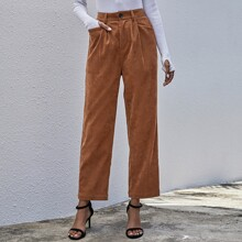 Cord einfarbige Hose mit geradem Beinschnitt