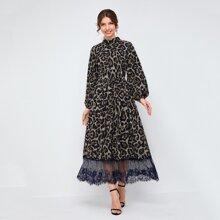 Leopard Print Lantern Sleeve Contrast Lace Hem Flare Dress