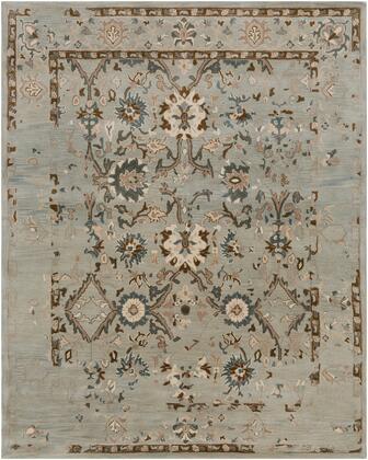 Castello CLL-1014 9' x 13' Rectangle Traditional Rug in Medium Gray  Khaki  Teal  Dark Brown