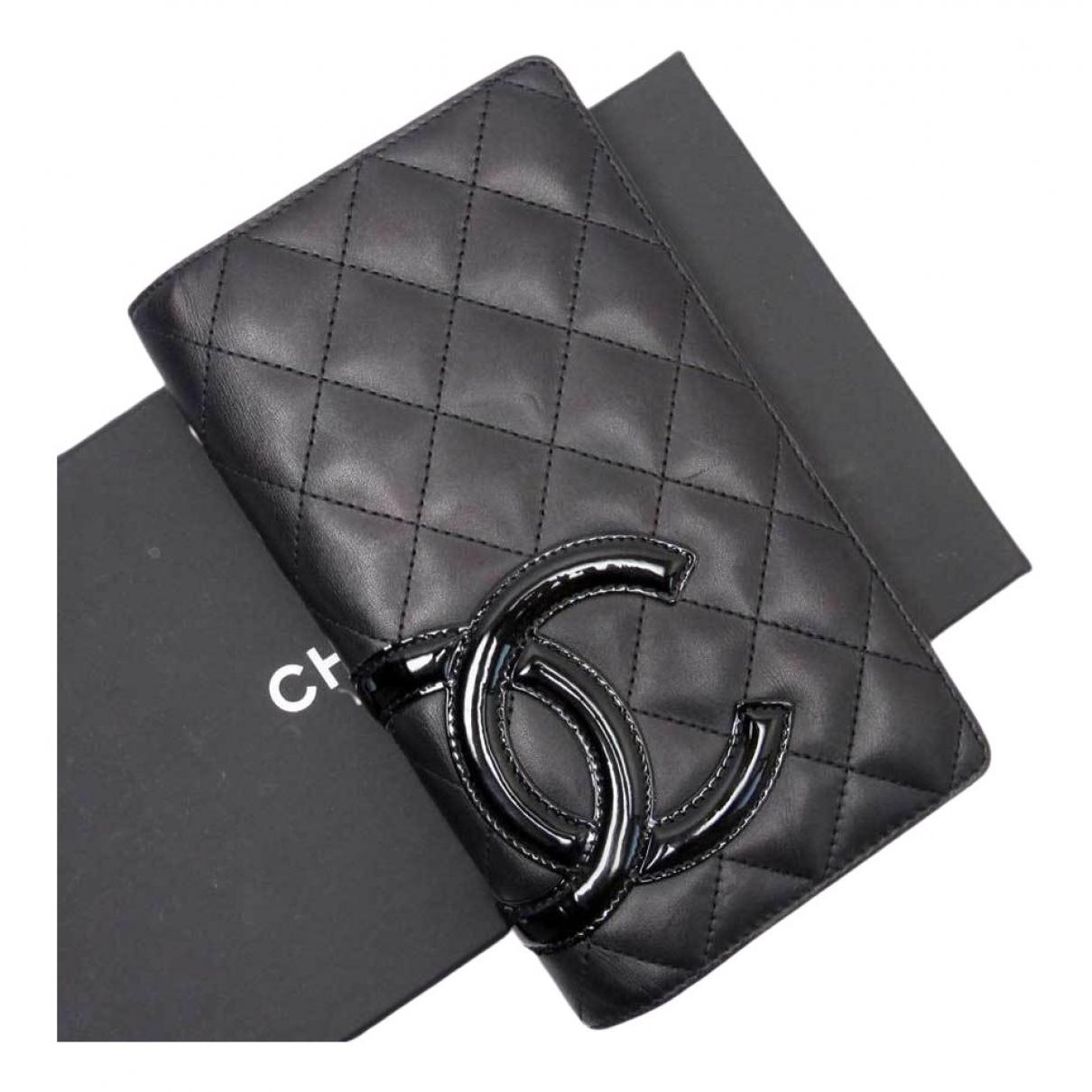 Chanel Cambon Portemonnaie in  Schwarz Leinen