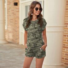 Camo Batwing Sleeve Tee With Track Shorts