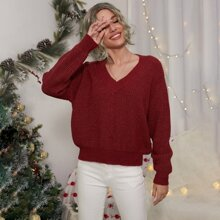 Christmas Ribbed Knit Solid Sweater