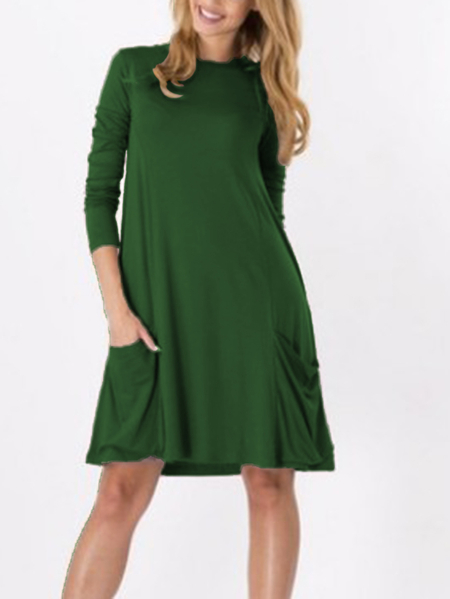 Yoins Green Solid Color Two Large Pockets Loose Dresses