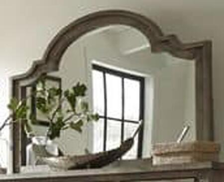 Meadow P632-50 Mirror with Molding Details  Beveled Edge and Rough Sewn Salvaged Pine in Weathered