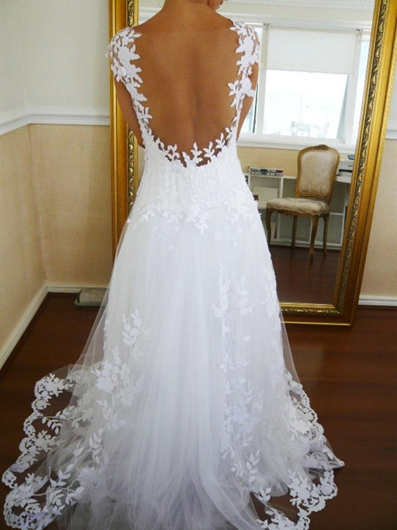 Ericdress Sheer Back Appliques Cap Sleeves Wedding Dress