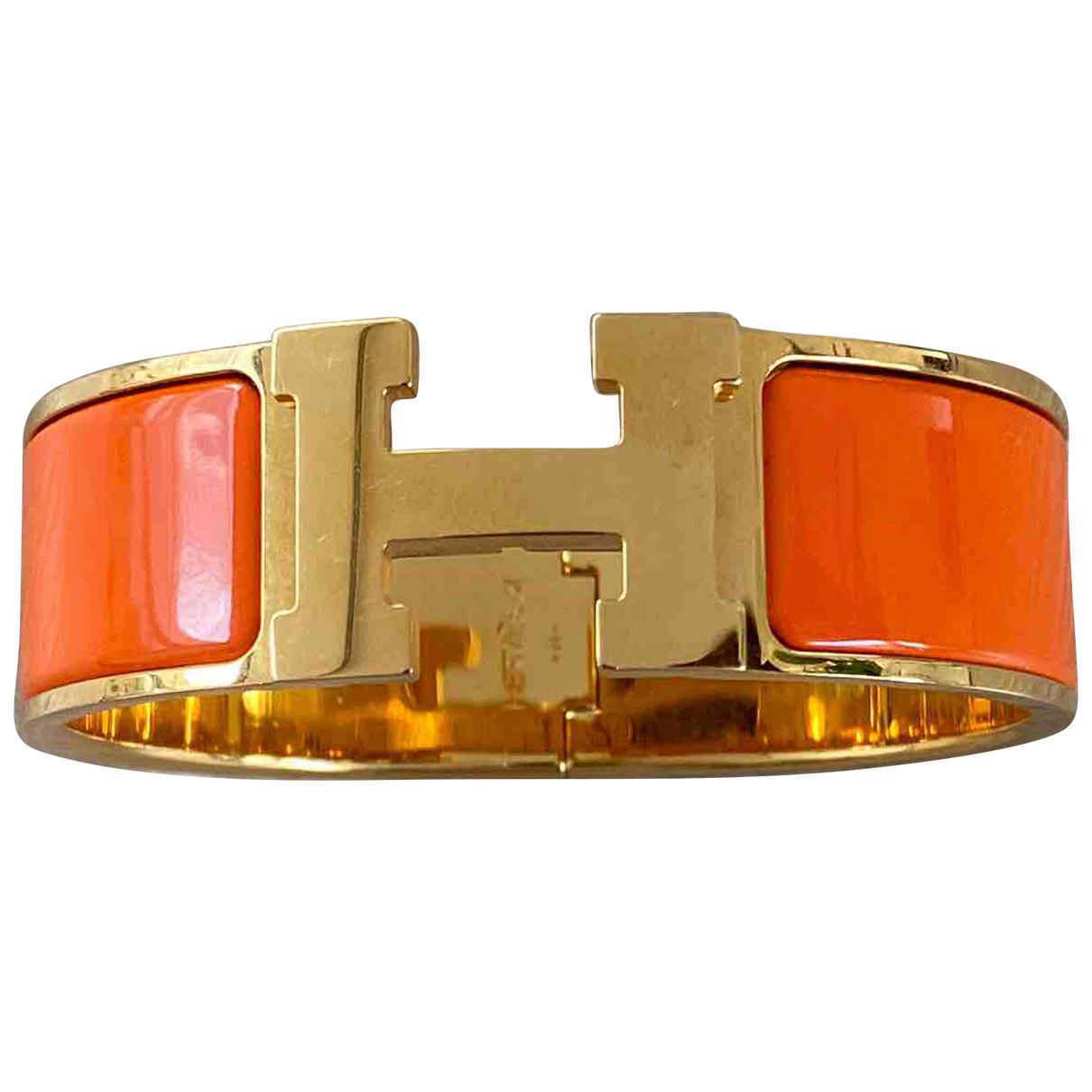 Hermes Clic H Armband in  Orange Vergoldet