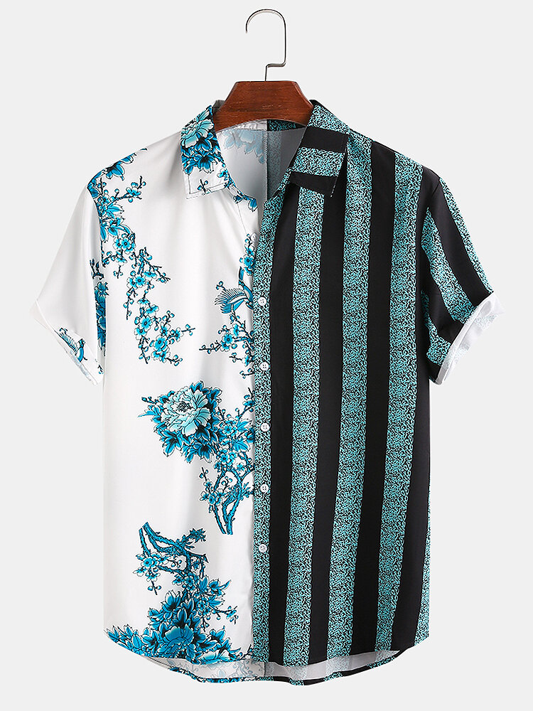 Men Floral & Striped Patchwork Holiday Casual Shirt