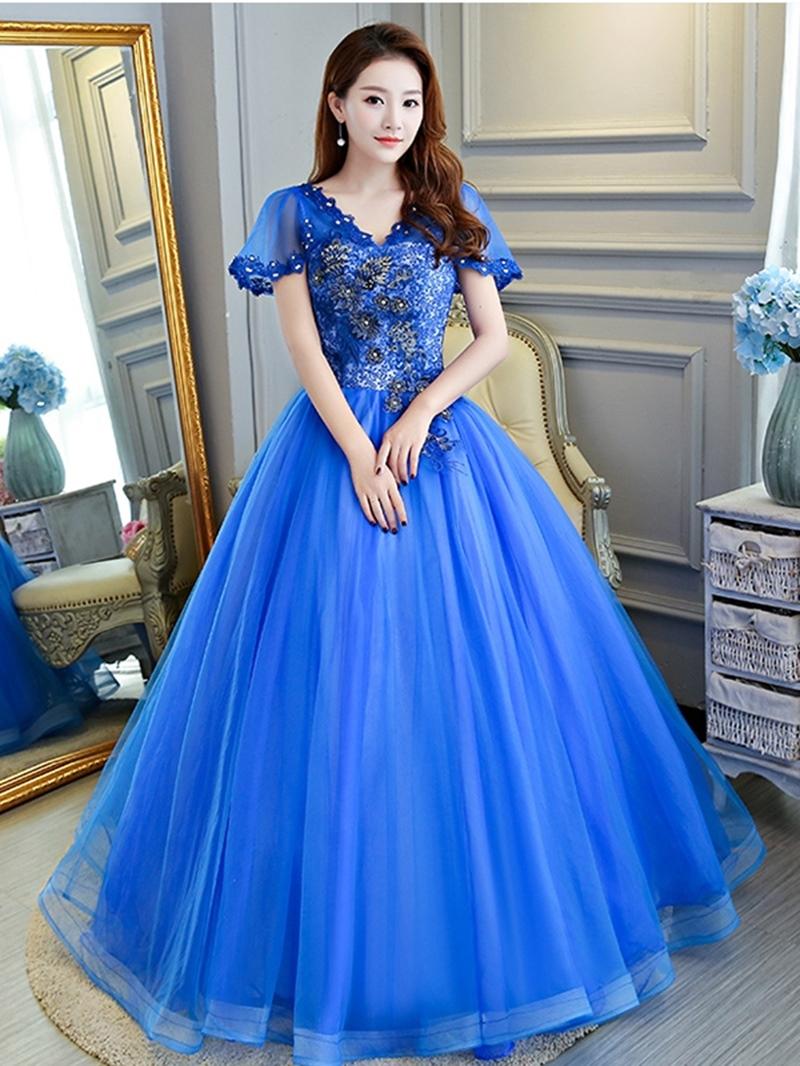 Ericdress V-Neck Beading Ball Gown Floor-Length Quinceanera Dress