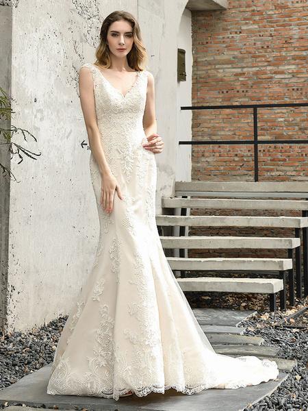 Milanoo Mermaid Wedding Dresses V Neck Sleeveless Natural Waist Lace Bridal Mermaid Dress With Train