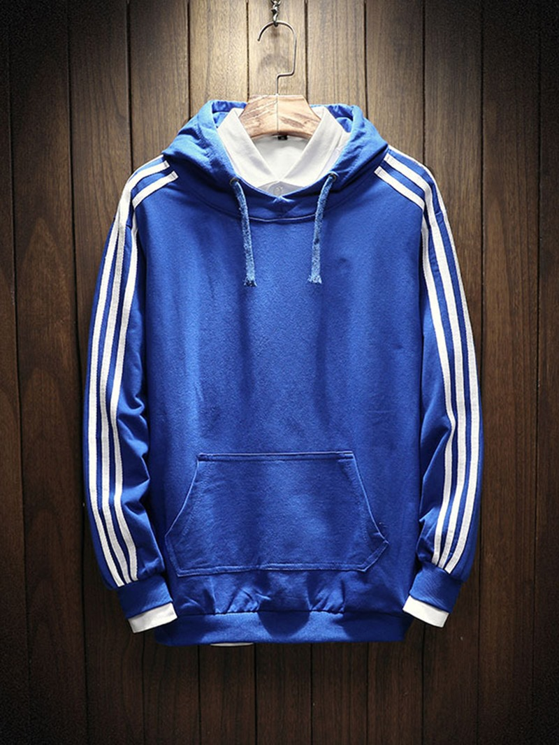Ericdress Stripe Pocket Mens Pullover Hoodies