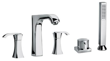 11109-68 Two Lever Handle Roman Tub Faucet and Hand Shower With Arched Spout  Polished Nickel