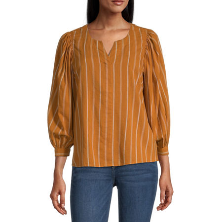 a.n.a Womens Split Crew Neck 3/4 Sleeve Blouse, Petite Small , Yellow