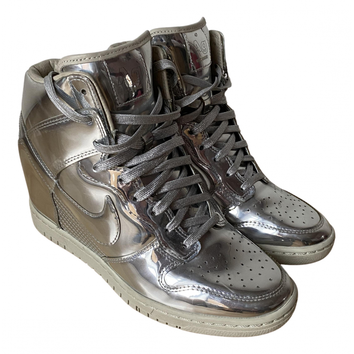Nike Dunk Sky Silver Patent leather Trainers for Women 40.5 EU
