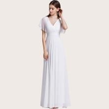 Chiffon Kleid mit Ruesche und Tailleband