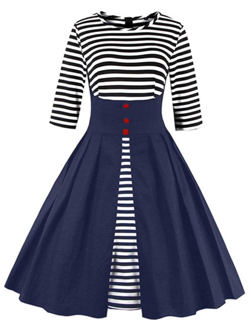 Ericdress Stripe Patchwork Button A Line Dress