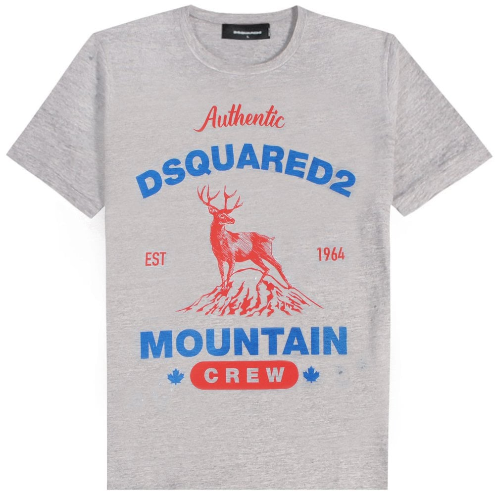 DSquared2 Dear Logo Print T-Shirt Colour: GREY, Size: EXTRA LARGE