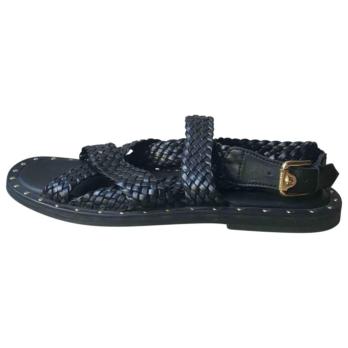 Versace \N Black Leather Sandals for Men 44 EU