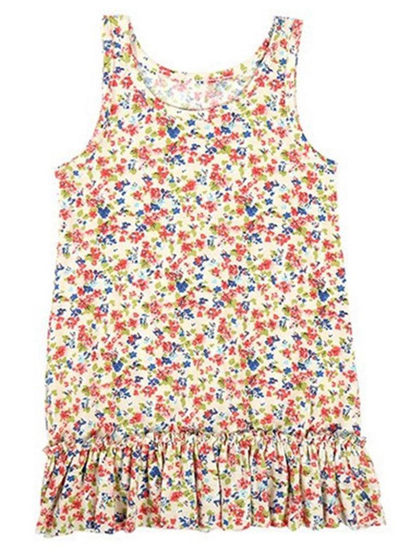 Ericdress Above Knee Flowers Sleeveless Cotton Girls Dress