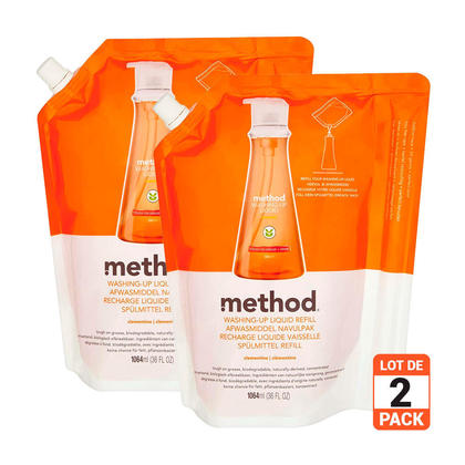 Method Dish Soap Refill 1064ML (36Oz) - Clementine,2pack